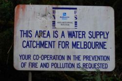 Sign stating Armstrong Creek catchment is protected