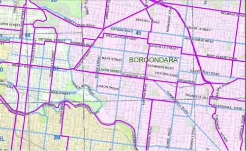 Draft PBN map - Boroondara