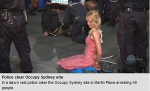 Women handcuffed by NSW Police at Occupy Sydney protest