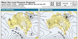 Tropical cyclone Yasi - forecast sea level pressure